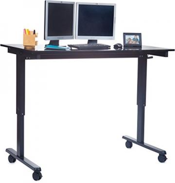 Höhenverstellbarer Schreibtisch (Rahmen schwarz / Hochglanzdeckel schwarz, Schreibtisch Länge: 150cm) - 2