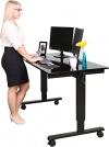 Höhenverstellbarer Schreibtisch (Rahmen schwarz / Hochglanzdeckel schwarz, Schreibtisch Länge: 150cm) - 1