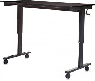 Höhenverstellbarer Schreibtisch (Rahmen schwarz / Hochglanzdeckel schwarz, Schreibtisch Länge: 150cm) - 3