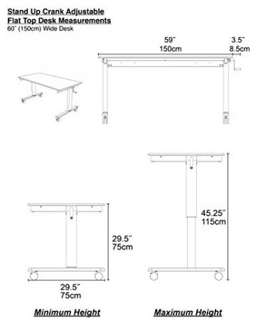 Höhenverstellbarer Schreibtisch (Rahmen schwarz / Hochglanzdeckel schwarz, Schreibtisch Länge: 150cm) - 5