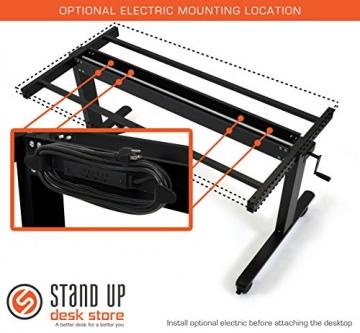 Höhenverstellbarer Schreibtisch (Rahmen schwarz / Hochglanzdeckel schwarz, Schreibtisch Länge: 150cm) - 8