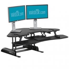 Bürozellen-Sitz-Steh-Schreibtisch - Bürozellen-Steharbeitsplatz - VARIDESK Cube Corner 48 für zwei große Monitore - Schwarz -