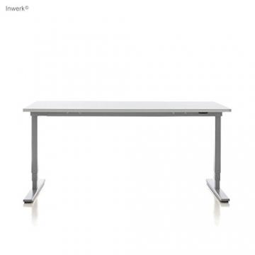 Inwerk MASTERLIFT 2 | Steh-Sitz Schreibtisch (160 x 80 x 74 cm, Silber RAL9006) -