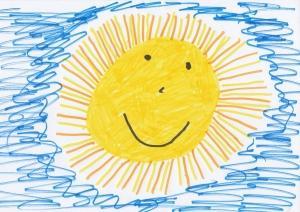 Kinderschreibtisch Sonne gemahlt