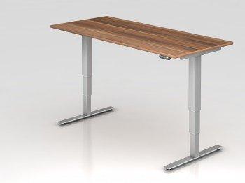 HAMMERBACHER Höhenverstellbarer Schreibtisch zwetschge rechteckig -